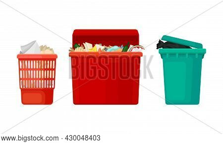 Different Types Of Plastic Containers For Garbage Set. Wastebaskets For Household Waste Vector Illus
