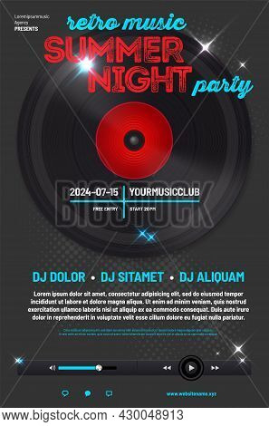 Poster Template For Music Party With Vinyl Record, Music Player And Sample Text In Separate Layer -