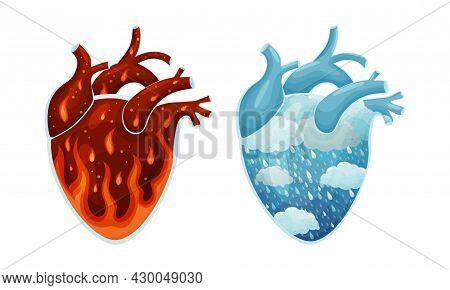 Fire And Freezing Rain Natural Phenomenon Inside Human Hearts Vector Illustration