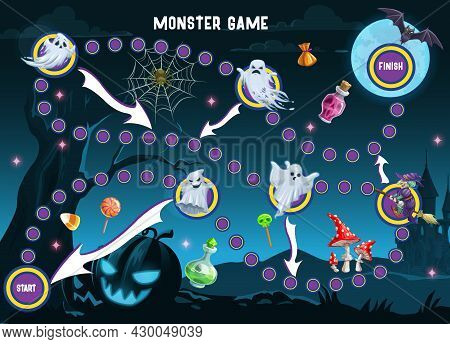 Halloween Monsters Path Board Game Vector Template Of Children Puzzle Or Maze. Dice Boardgame Of Sta