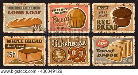 Bakery Shop And Bread Rusty Plates Of Food Vector Design. Wheat And Rye Bread Loaves, Baguette, Toas