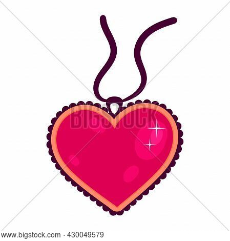 Vector Heart Shaped Pendant, Jewelry. Illustration In Flat Style