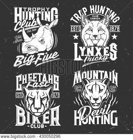 Tshirt Prints With Cougar Puma, Cheetah, Rhino, Mountain Lion And Lynx Heads. Vector Mascots For Hun