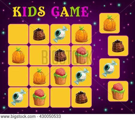 Sudoku Game For Kids Vector Template With Halloween Trick Or Treat Sweets. Education Puzzle Or Logic