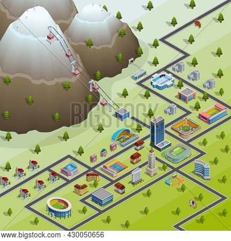Sport Village Buildings And Accommodations For Participating In Games Athletes Isometric Layout Bird