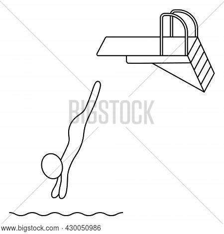 Jumping Into The Water From A Springboard. The Athlete Jumps Forward From The Rack. Sketch. Vector I