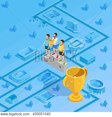 Victory Podium At Award Gold Cup Trophy Winner Presentation Ceremony Isometric Poster With Stadium B