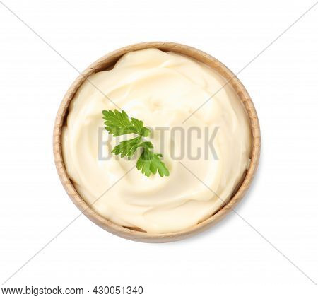 Bowl With Delicious Mayonnaise And Parsley Isolated On White, Top View
