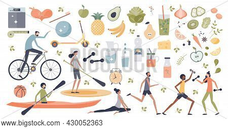 Healthy Lifestyle With Daily Fitness Workout And Fruit With Vegetables Diet Habits Tiny Person Colle