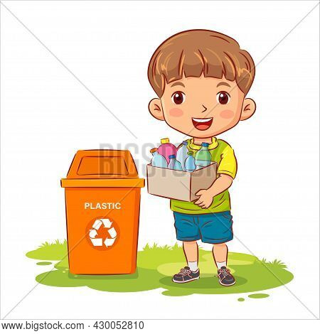 Cute Boy Holding A Container With Plastic Bottles To The Recycle Bin. Environment Concept. Eco Frien
