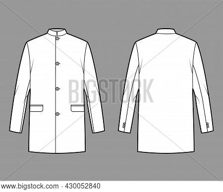 Nehru Jacket Technical Fashion Illustration With Oversized, Stand Collar, Flap Pockets, Oversized, L