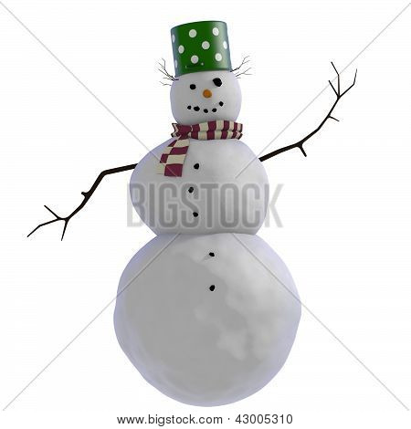 3D Snowman with green doted pot for hat, twigs for hair and purple and white striped scarf
