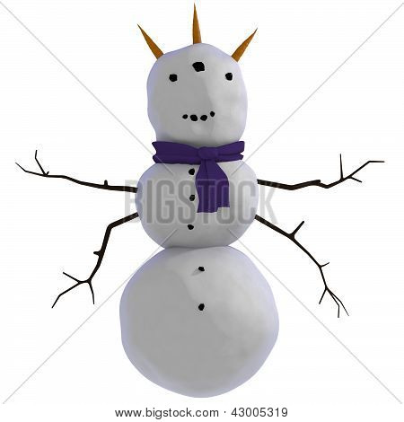 three horned, three eyed, four armed, alien looking snowman