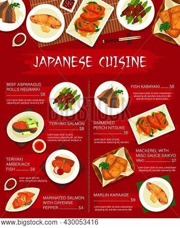 Japanese Cuisine Vector Beef Asparagus Rolls Hegimaki, Simmered Perch Nitsuke, Teriyaki Salmon, Fish