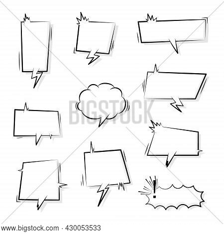 Collection Set Of Cute Hand Drawn Blank Speech Bubble Balloon With Speed Line, Shout, Think, Speak,