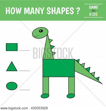 Educational Game For Kids. Dinosaur Of Geometric Shapes. Count Ovals, Triangles And Rectangles. Pres