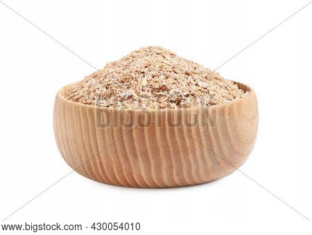 Wheat Bran In Bowl On White Background