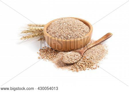 Wheat Bran And Spikelets On White Background