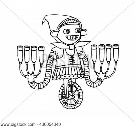 Cute Milkmaid Robot With Milk Pumps, Funny Character, Little Mechanic Gnome, Vector Illustration Wit