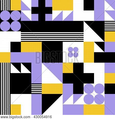 Colorful Abstract Vector Seamless Pattern With Geometric Shapes. Vintage Retro Bauhaus Design Backgr