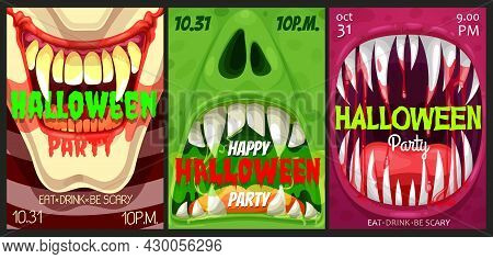 Halloween Party Vector Flyers With Monster Mouths. Happy Halloween Horror Night Event Invitation Pos