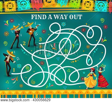 Labyrinth Maze Game, Dia De Los Muertos Riddle With Skeletons. Kids Education Vector Puzzle, Quiz Or