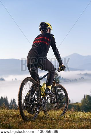 Back View Of Young Man In Cycling Suit Riding Bicycle On Grassy Hill. Male Bicyclist Enjoying The Vi