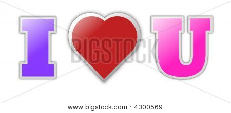 colorful love you text heart symbol image & photo | bigstock
