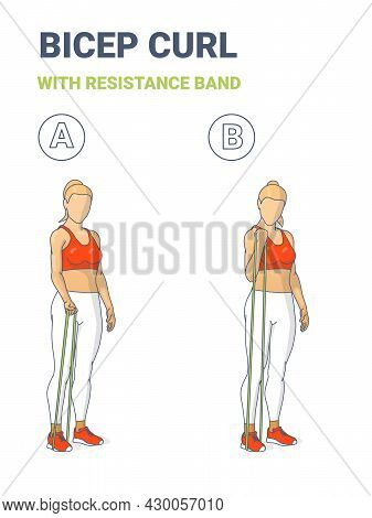 Girl Doing Bicep Curl Home Workout Exercise With Resistance Band Rubber Loop Equipment Guidance.