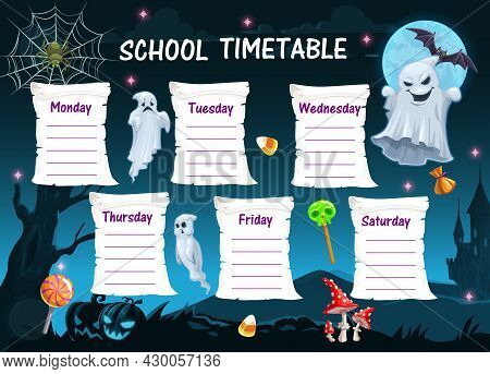 Halloween School Timetable With Ghosts And Holiday Treats. Kids Study Planner, Child Week Schedule V