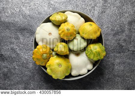 Fresh Ripe Pattypan Squashes In Bowl On Grey Table, Top View