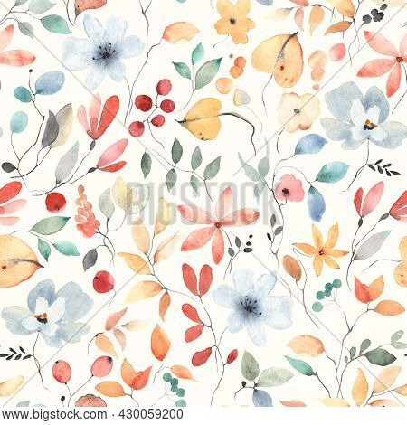 Colorful seamless floral pattern with abstract flowers, leaves and berries. Watercolor print in rustic vintage style, textile or wallpapers in provence style isolated on ivory background.