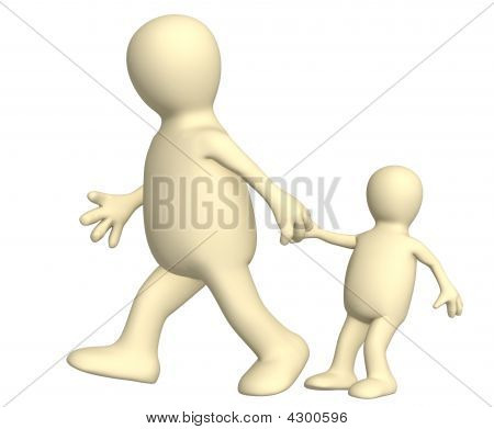 Adult, Pulling For A Hand Of The Small Child