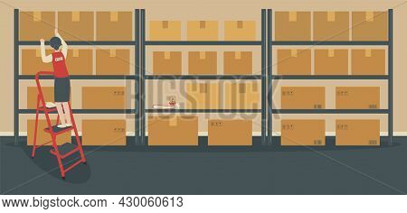 Warehouse Or Storeroom: Storekeeper On Ladder Near Rack With Cardboard Boxes.cargo In Packages, Tape