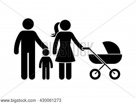 Young Stick Figure Family Standing Front View Vector Icon Illustration Set. Father, Son, Mother With