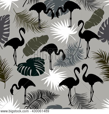 Contour Illustration With Flamingos.black Flamingos And Palm Leaves In A Seamless Pattern.