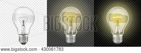 Glowing And Turned Off Light Bulbs. Vector 3d Realistic . Set With Incandescent Lamps, Glowing Yello