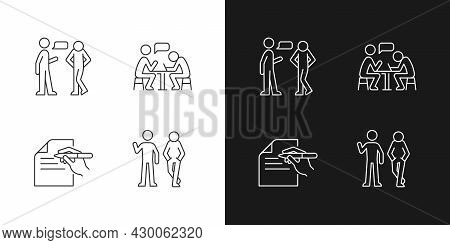 Understanding In Communication Linear Icons Set For Dark And Light Mode. Nonverbal Signal. Attitudin