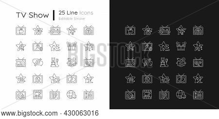 Tv Show Linear Icons Set For Dark And Light Mode. Television Entertainment. Media Fun Series. Custom