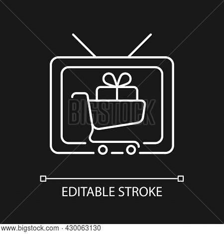 Shopping Show White Linear Icon For Dark Theme. Teleshopping Program. Movie About Shopaholic. Thin L