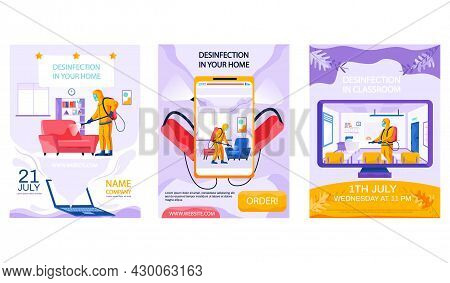 Set Of Illustrations About Disinfection Of Premises And Provision Of Sanitary Services. Man In Yello