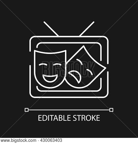 Tv Drama White Linear Icon For Dark Theme. Theatrical Performance Translation On Display. Thin Line
