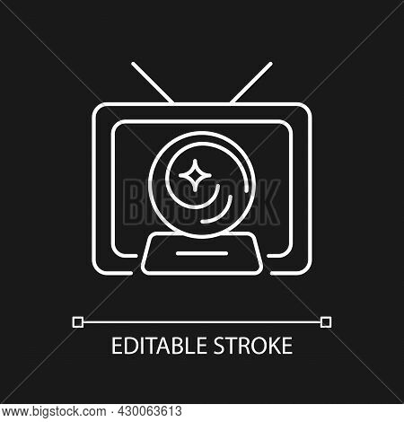 Mystic Show White Linear Icon For Dark Theme. Mystery Series On Television Channel. Fiction Movie. T