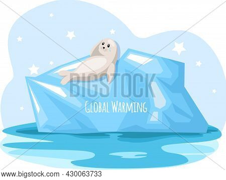 Polar Seal Is Sad About Climate Change And Global Warming. Animals During Global Warming Concept. Se