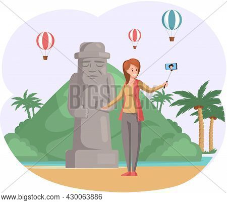 Female Tourist Travels, Takes Selfie Near Stone Figure. Woman In Journey On Tropical Island With Pal