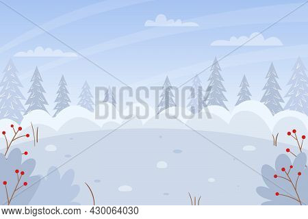 Horizontal Winter, Snowy Landscape. Snowdrifts, Bushes, Fir Trees In The Snow, Snow-covered Bushes.