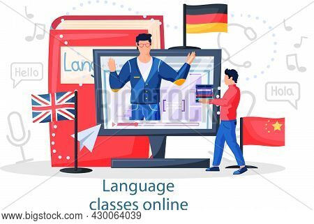 Language Classes Online With Educational Platform Free Education. Foreign Speech Study At Home Using