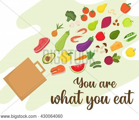 You Are What You Eat. Shopping Bag And Wholesome, Healthy Food. The Concept Of Proper Nutrition, Rea