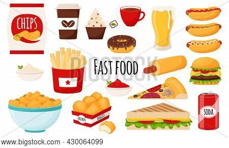 Fast Food Collection. A Set Of Fatty, High-calorie, Harmful Food. Hamburger, Hot Dog, Chips, French