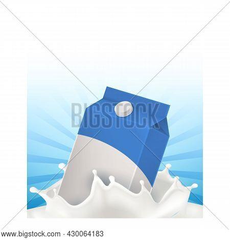 Milk Natural Drink Creative Promo Poster Vector. Milk Blank Packaging And Liquid Splash On Advertisi